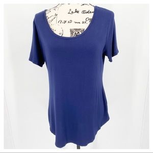 Old Navy Luxe Navy Blue Short Sleeve Top M
